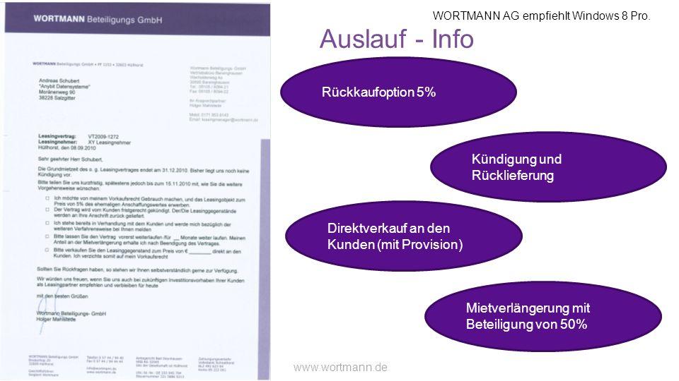WORTMANN AG empfiehlt Windows 8 Pro. www.wortmann.de Auslauf - Info Rückkaufoption 5% Kündigung und Rücklieferung Mietverlängerung mit Beteiligung von