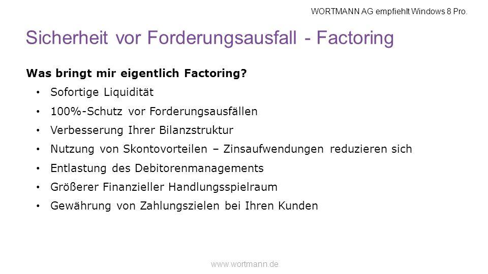 WORTMANN AG empfiehlt Windows 8 Pro. www.wortmann.de Sicherheit vor Forderungsausfall - Factoring Was bringt mir eigentlich Factoring? Sofortige Liqui