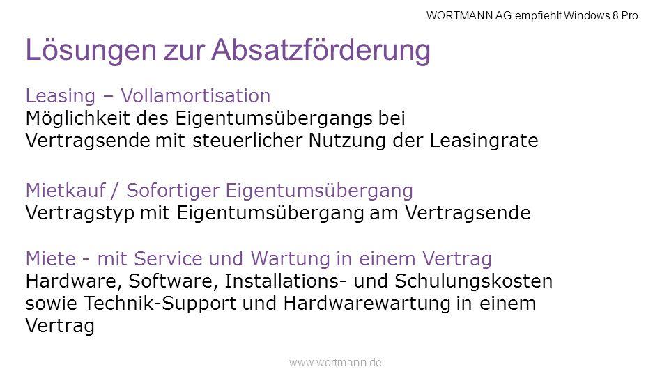 WORTMANN AG empfiehlt Windows 8 Pro. www.wortmann.de Lösungen zur Absatzförderung Leasing – Vollamortisation Möglichkeit des Eigentumsübergangs bei Ve