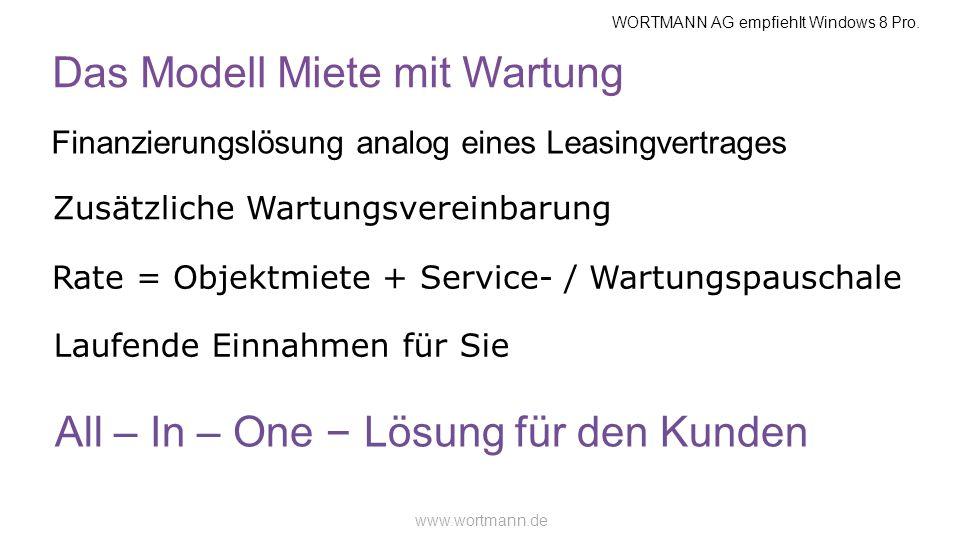 WORTMANN AG empfiehlt Windows 8 Pro. www.wortmann.de Das Modell Miete mit Wartung Finanzierungslösung analog eines Leasingvertrages Zusätzliche Wartun
