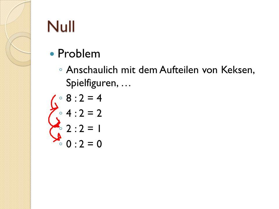Null Problem Anschaulich mit dem Aufteilen von Keksen, Spielfiguren, … 8 : 2 = 4 4 : 2 = 2 2 : 2 = 1 0 : 2 = 0