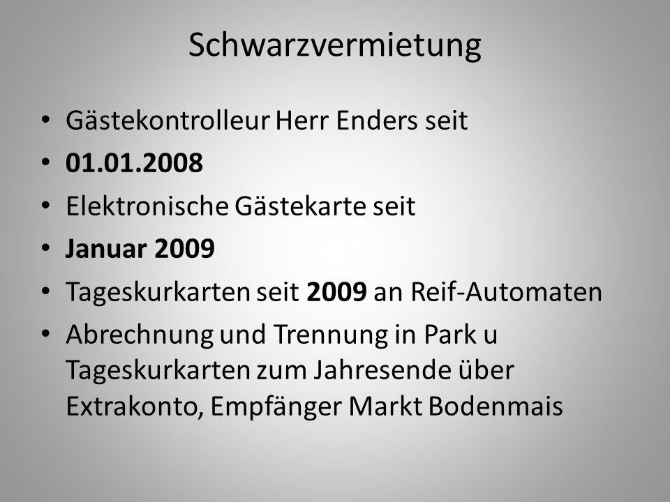 Schwarzvermietung Gästekontrolleur Herr Enders seit 01.01.2008 Elektronische Gästekarte seit Januar 2009 Tageskurkarten seit 2009 an Reif-Automaten Ab