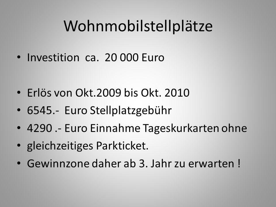 Wohnmobilstellplätze Investition ca. 20 000 Euro Erlös von Okt.2009 bis Okt. 2010 6545.- Euro Stellplatzgebühr 4290.- Euro Einnahme Tageskurkarten ohn
