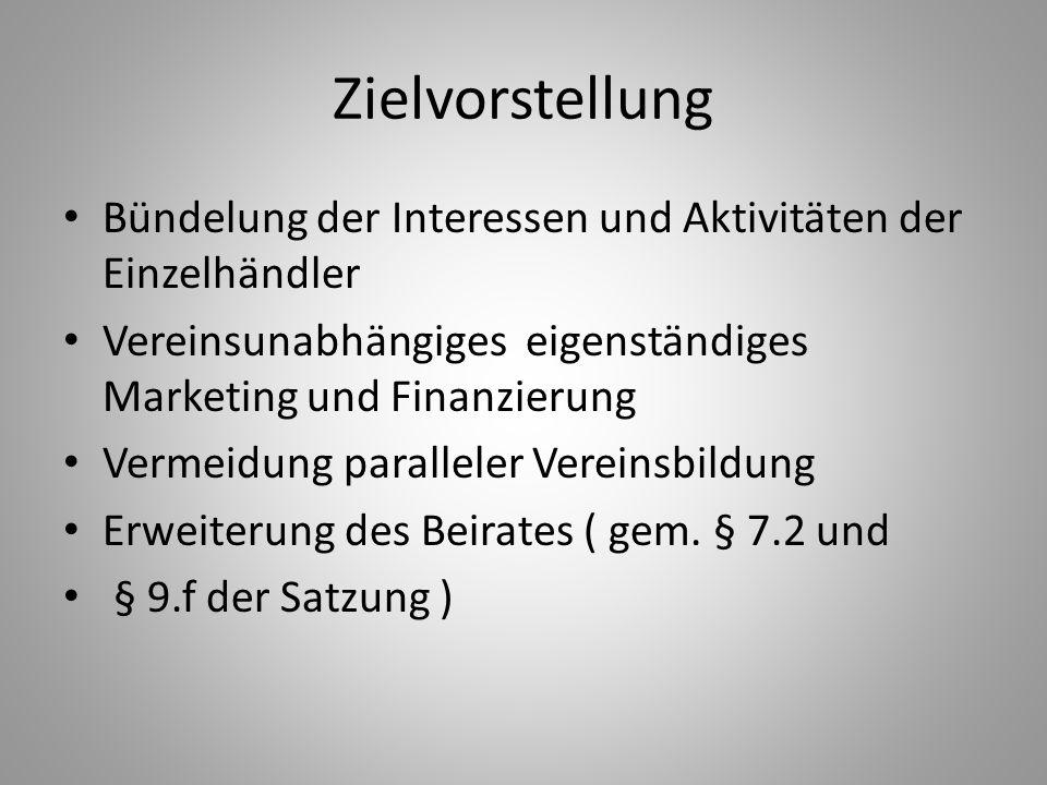 Zielvorstellung Bündelung der Interessen und Aktivitäten der Einzelhändler Vereinsunabhängiges eigenständiges Marketing und Finanzierung Vermeidung pa