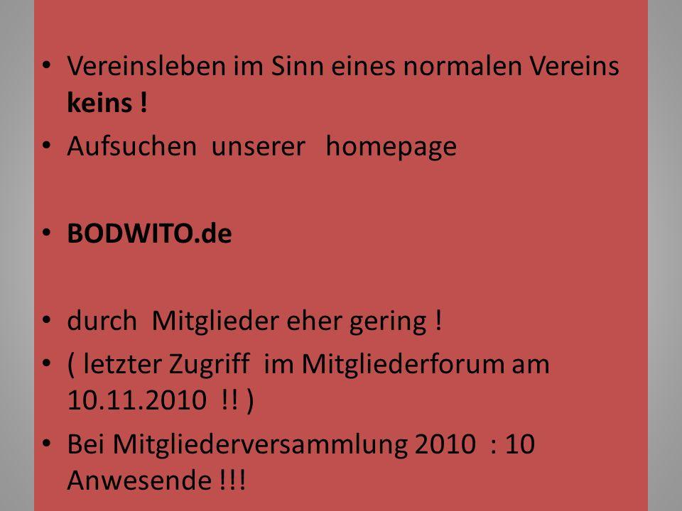 Vereinsleben im Sinn eines normalen Vereins keins ! Aufsuchen unserer homepage BODWITO.de durch Mitglieder eher gering ! ( letzter Zugriff im Mitglied