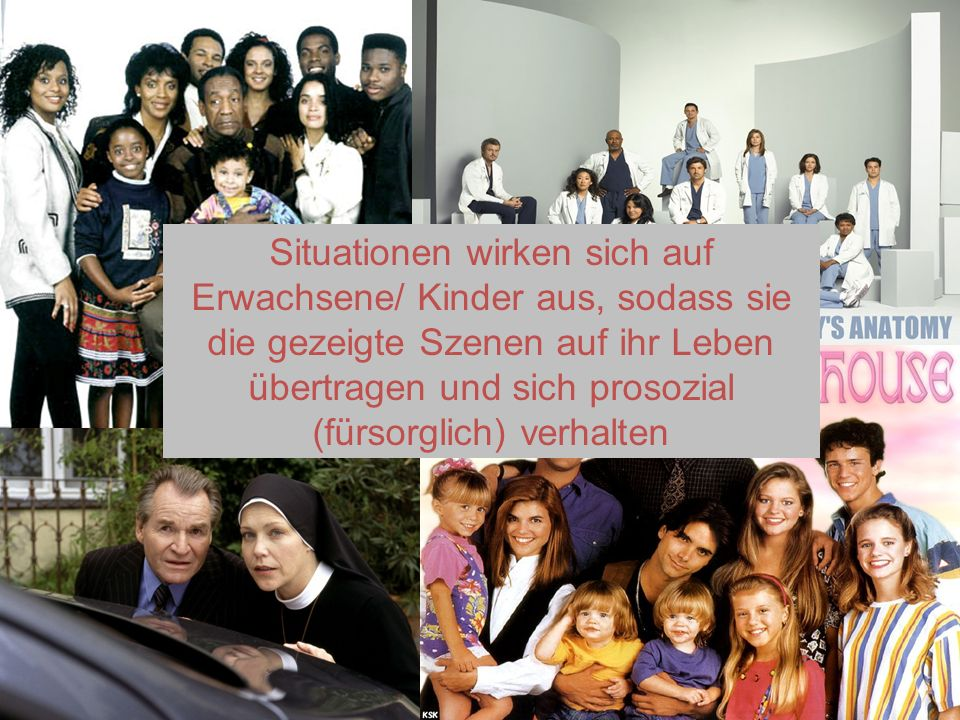 Medien Situationen wirken sich auf Erwachsene/ Kinder aus, sodass sie die gezeigte Szenen auf ihr Leben übertragen und sich prosozial (fürsorglich) ve