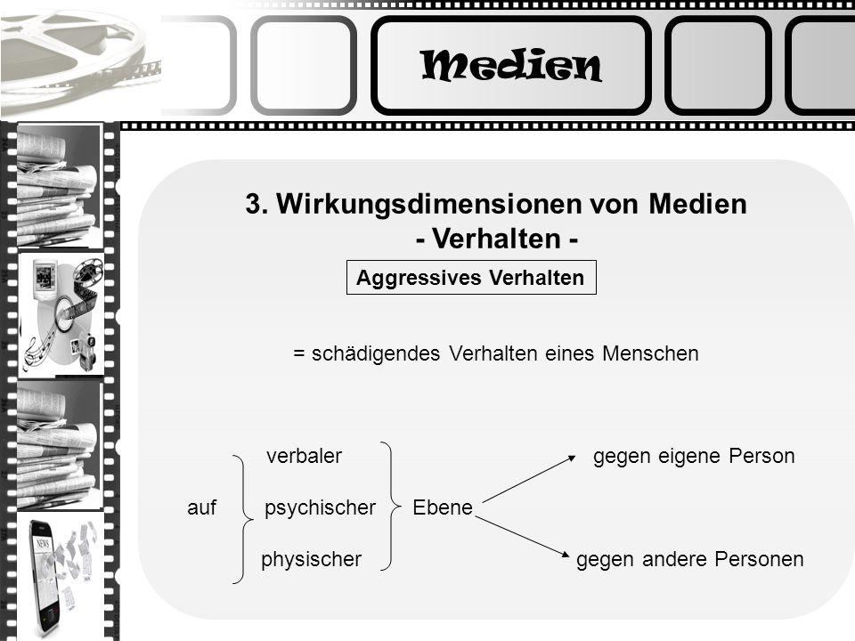 Medien 3. Wirkungsdimensionen von Medien - Verhalten - = schädigendes Verhalten eines Menschen verbaler gegen eigene Person auf psychischer Ebene phys