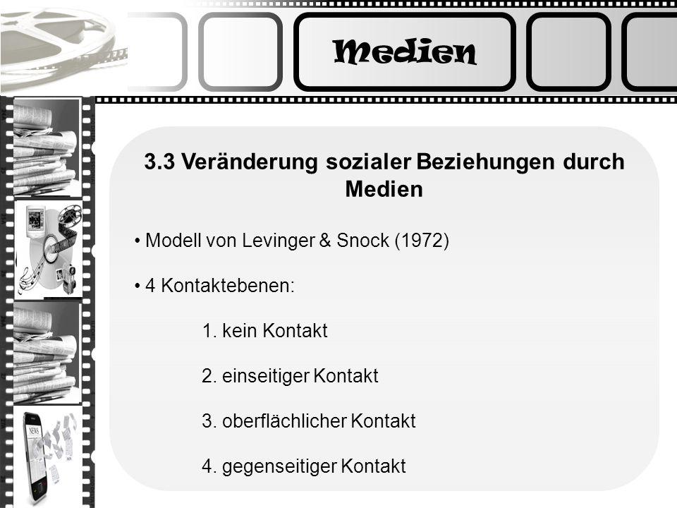 Medien 3.3 Veränderung sozialer Beziehungen durch Medien Modell von Levinger & Snock (1972) 4 Kontaktebenen: 1. kein Kontakt 2. einseitiger Kontakt 3.