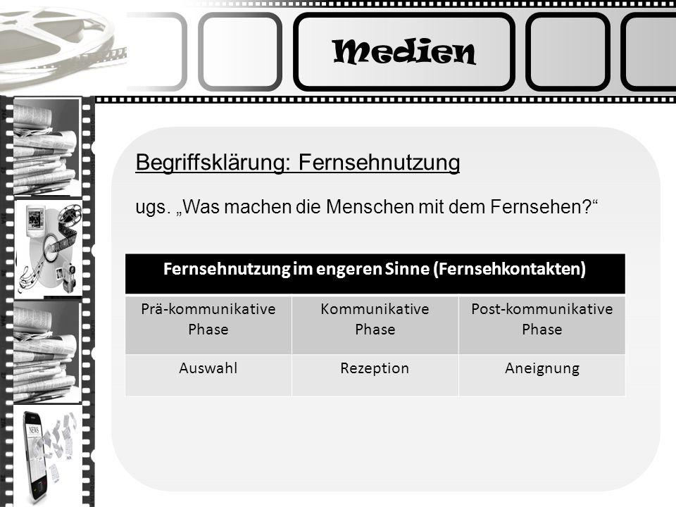 Medien Begriffsklärung: Fernsehnutzung ugs. Was machen die Menschen mit dem Fernsehen? Fernsehnutzung im engeren Sinne (Fernsehkontakten) Prä-kommunik