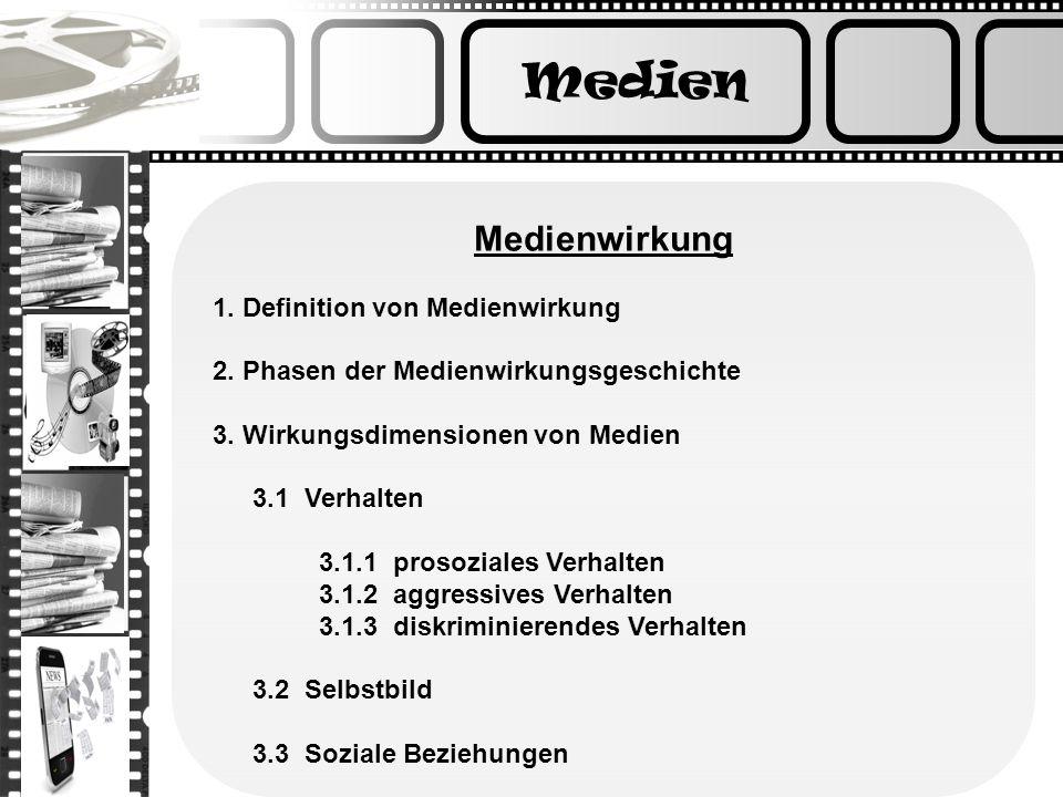 Medien Medienwirkung 1. Definition von Medienwirkung 2. Phasen der Medienwirkungsgeschichte 3. Wirkungsdimensionen von Medien 3.1 Verhalten 3.1.1 pros