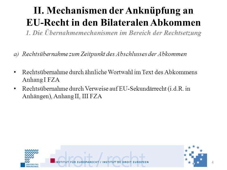 II. Mechanismen der Anknüpfung an EU-Recht in den Bilateralen Abkommen 1. Die Übernahmemechanismen im Bereich der Rechtsetzung a)Rechtsübernahme zum Z