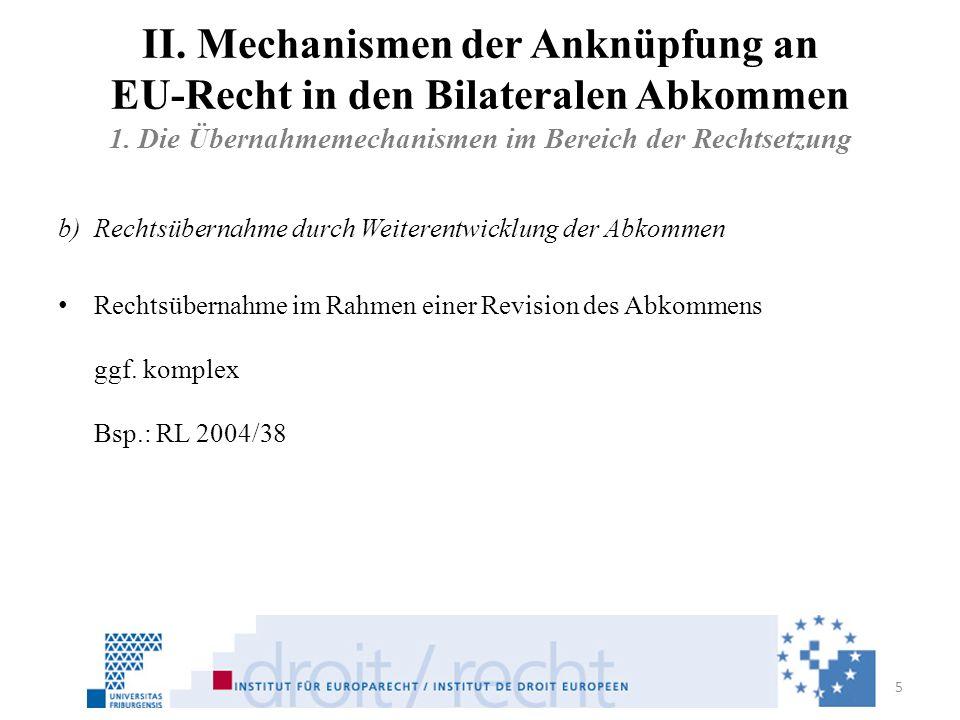 II. Mechanismen der Anknüpfung an EU-Recht in den Bilateralen Abkommen 1. Die Übernahmemechanismen im Bereich der Rechtsetzung b)Rechtsübernahme durch