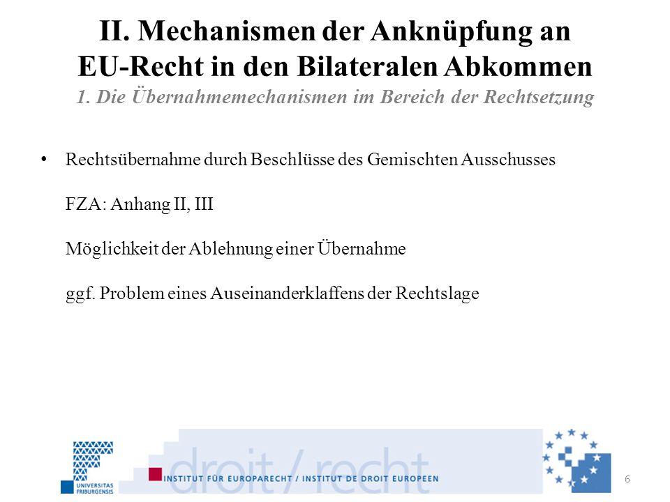 II. Mechanismen der Anknüpfung an EU-Recht in den Bilateralen Abkommen 1. Die Übernahmemechanismen im Bereich der Rechtsetzung Rechtsübernahme durch B