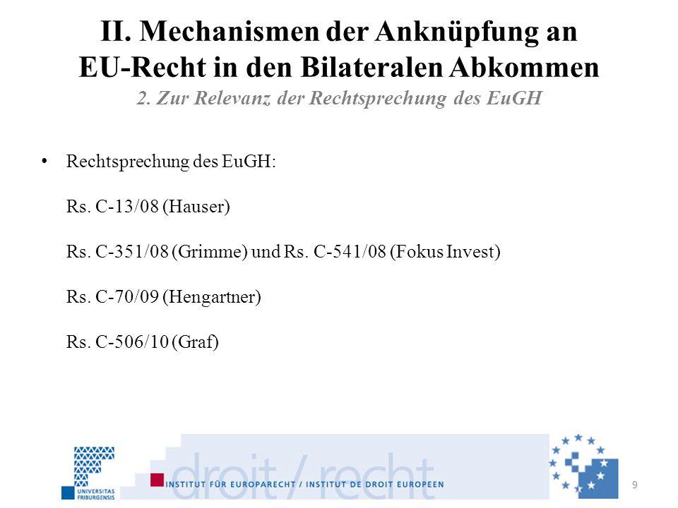 II. Mechanismen der Anknüpfung an EU-Recht in den Bilateralen Abkommen 2. Zur Relevanz der Rechtsprechung des EuGH Rechtsprechung des EuGH: Rs. C-13/0