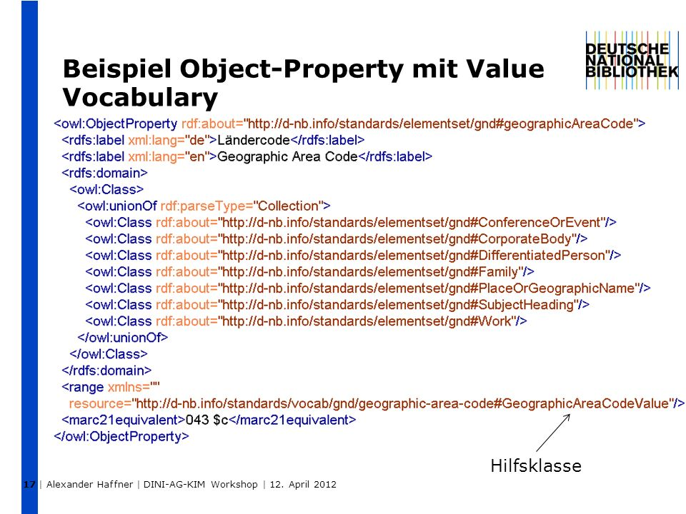 17 Beispiel Object-Property mit Value Vocabulary Hilfsklasse | Alexander Haffner | DINI-AG-KIM Workshop | 12.