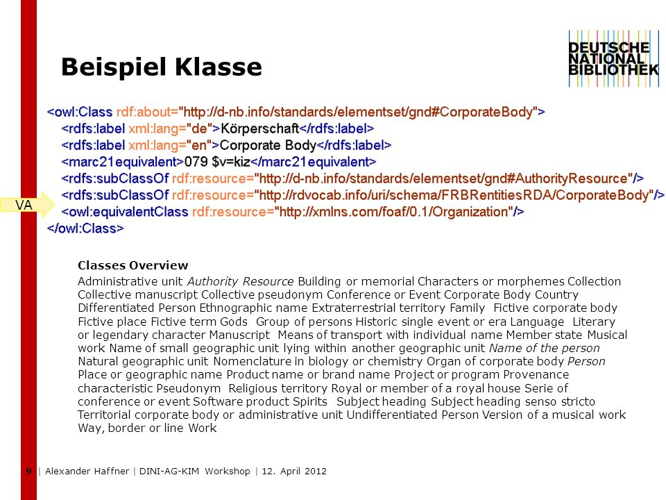 9 Beispiel Klasse Classes Overview Administrative unit Authority Resource Building or memorial Characters or morphemes Collection Collective manuscript Collective pseudonym Conference or Event Corporate Body Country Differentiated Person Ethnographic name Extraterrestrial territory Family Fictive corporate body Fictive place Fictive term Gods Group of persons Historic single event or era Language Literary or legendary character Manuscript Means of transport with individual name Member state Musical work Name of small geographic unit lying within another geographic unit Name of the person Natural geographic unit Nomenclature in biology or chemistry Organ of corporate body Person Place or geographic name Product name or brand name Project or program Provenance characteristic Pseudonym Religious territory Royal or member of a royal house Serie of conference or event Software product Spirits Subject heading Subject heading senso stricto Territorial corporate body or administrative unit Undifferentiated Person Version of a musical work Way, border or line Work VAVA | Alexander Haffner | DINI-AG-KIM Workshop | 12.