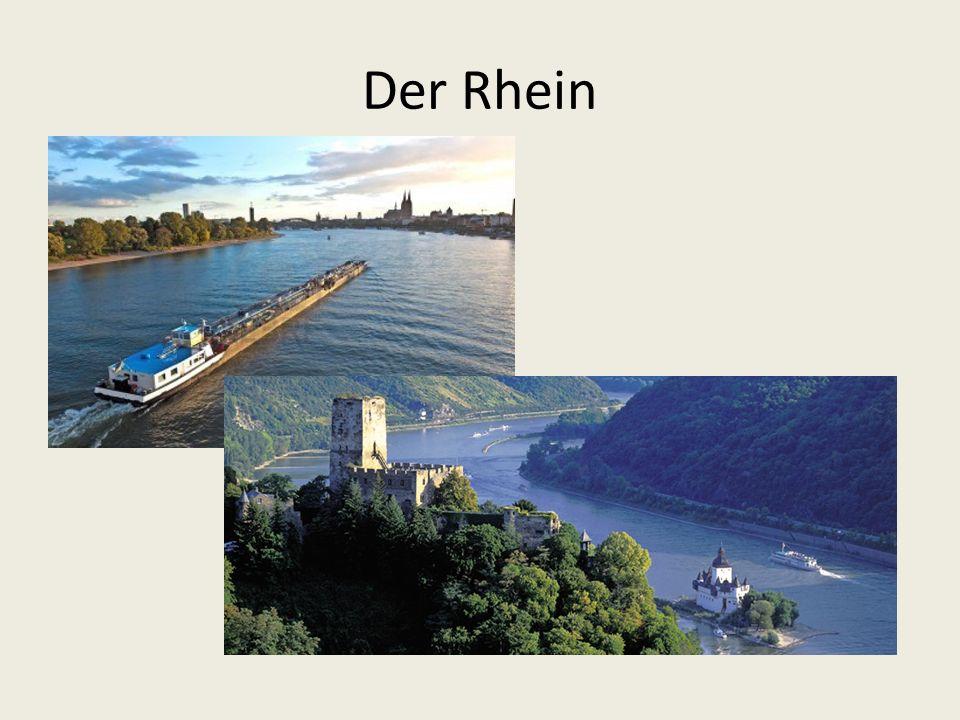 Der Rhein: entspring in der Schweiz, bildet teilweise die Grenze zu Frankreich, und fließt in die Nordsee.