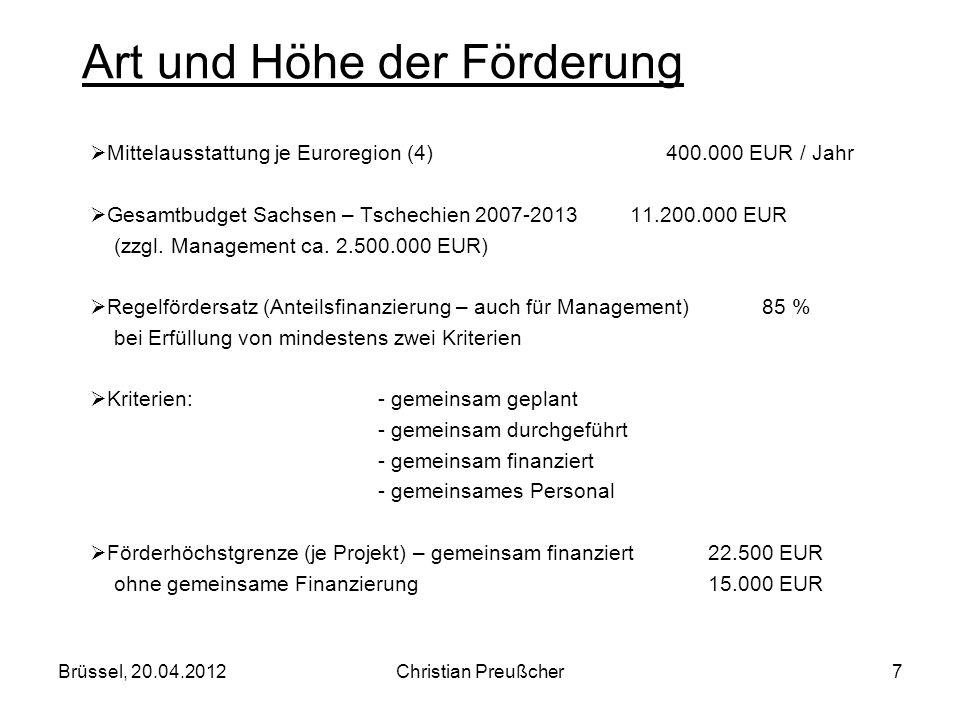 Mittelausstattung je Euroregion (4) 400.000 EUR / Jahr Gesamtbudget Sachsen – Tschechien 2007-2013 11.200.000 EUR (zzgl. Management ca. 2.500.000 EUR)