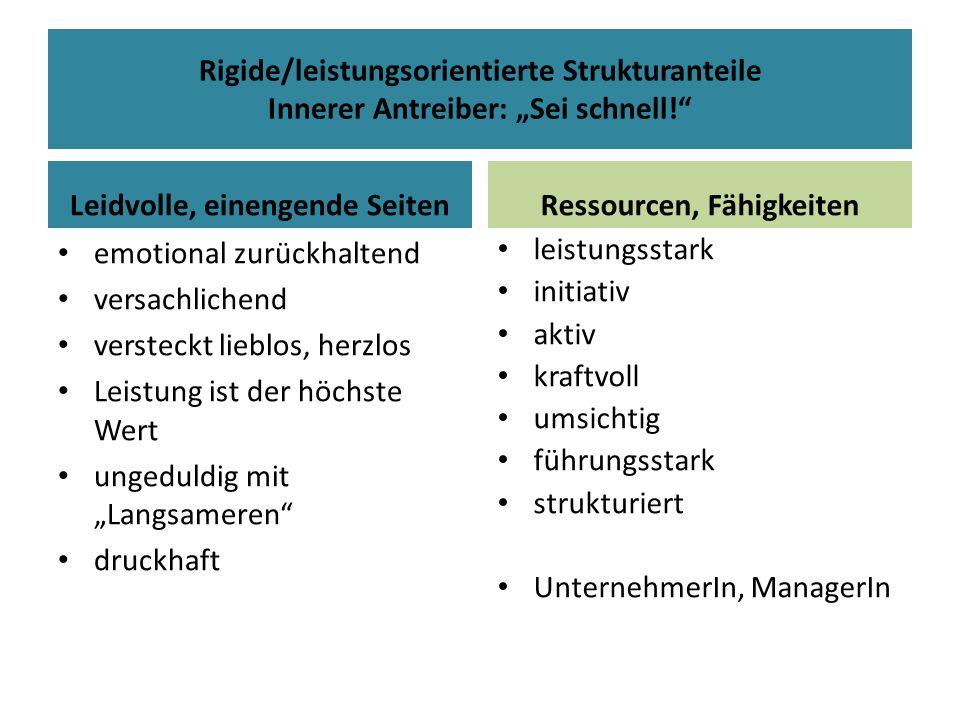 Rigide/leistungsorientierte Strukturanteile Innerer Antreiber: Sei schnell! Leidvolle, einengende Seiten emotional zurückhaltend versachlichend verste