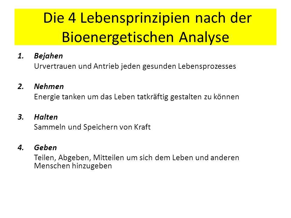 Die 4 Lebensprinzipien nach der Bioenergetischen Analyse 1.Bejahen Urvertrauen und Antrieb jeden gesunden Lebensprozesses 2.Nehmen Energie tanken um d