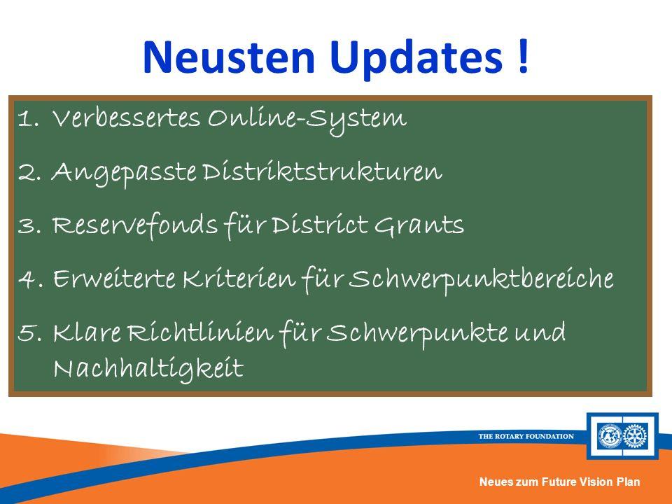 Neues zum Future Vision Plan Neusten Updates ! 1.Verbessertes Online-System 2.Angepasste Distriktstrukturen 3.Reservefonds für District Grants 4.Erwei