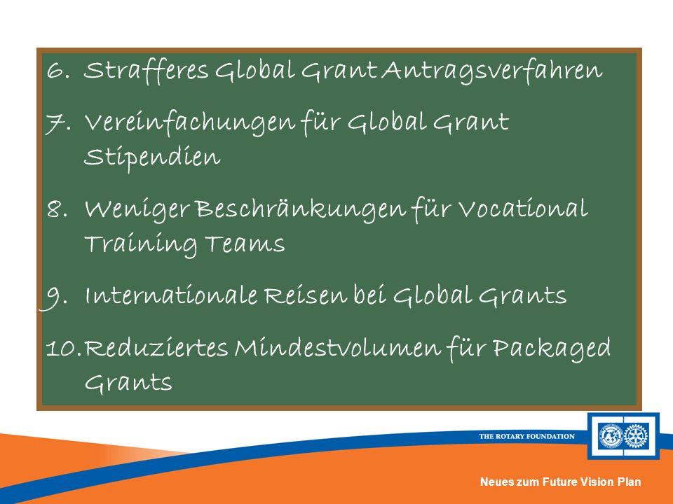 Neues zum Future Vision Plan 6.Strafferes Global Grant Antragsverfahren 7.Vereinfachungen für Global Grant Stipendien 8.Weniger Beschränkungen für Voc