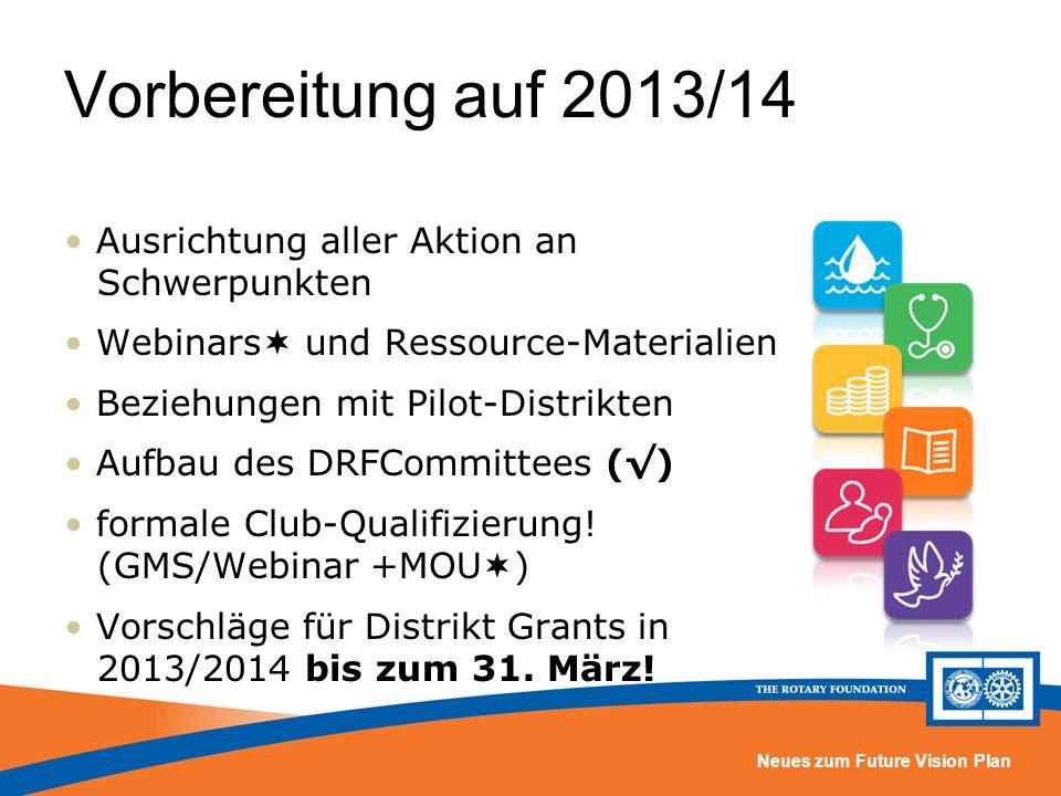 Neues zum Future Vision Plan Vorbereitung auf 2013/14 Ausrichtung aller Aktion an Schwerpunkten Webinars und Ressource-Materialien Beziehungen mit Pilot-Distrikten Aufbau des DRFCommittees () formale Club-Qualifizierung.
