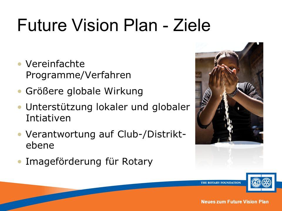 Neues zum Future Vision Plan Future Vision Plan - Ziele Vereinfachte Programme/Verfahren Größere globale Wirkung Unterstützung lokaler und globaler Intiativen Verantwortung auf Club-/Distrikt- ebene Imageförderung für Rotary