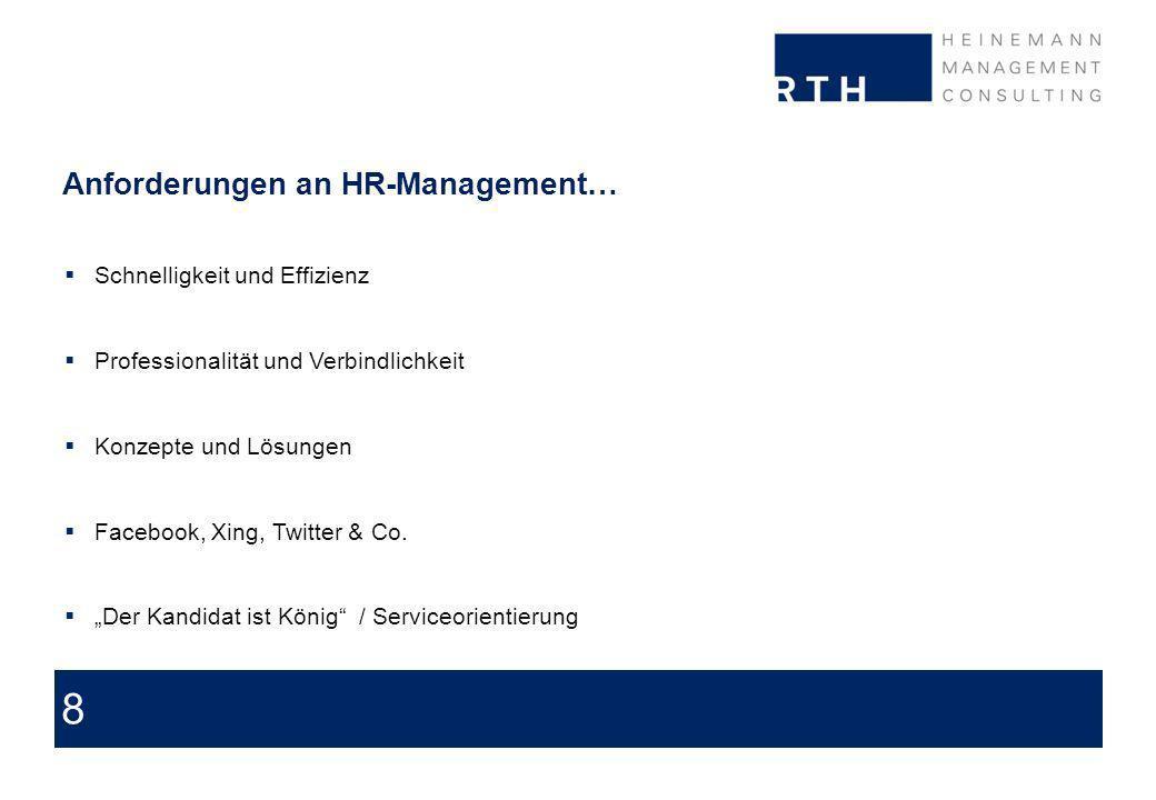 8 Anforderungen an HR-Management… Schnelligkeit und Effizienz Professionalität und Verbindlichkeit Konzepte und Lösungen Facebook, Xing, Twitter & Co.