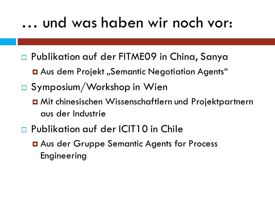 … und was haben wir noch vor: Publikation auf der FITME09 in China, Sanya Aus dem Projekt Semantic Negotiation Agents Symposium/Workshop in Wien Mit c
