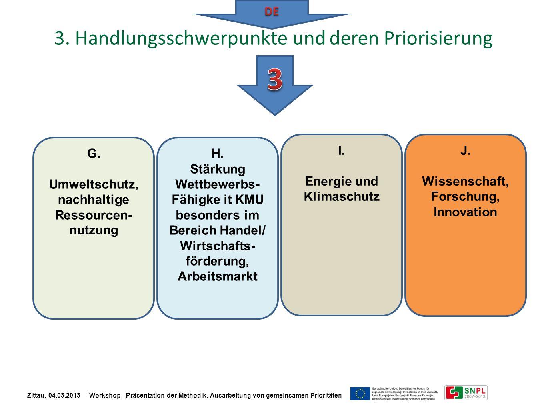 G. Umweltschutz, nachhaltige Ressourcen- nutzung H. Stärkung Wettbewerbs- Fähigke it KMU besonders im Bereich Handel/ Wirtschafts- förderung, Arbeitsm