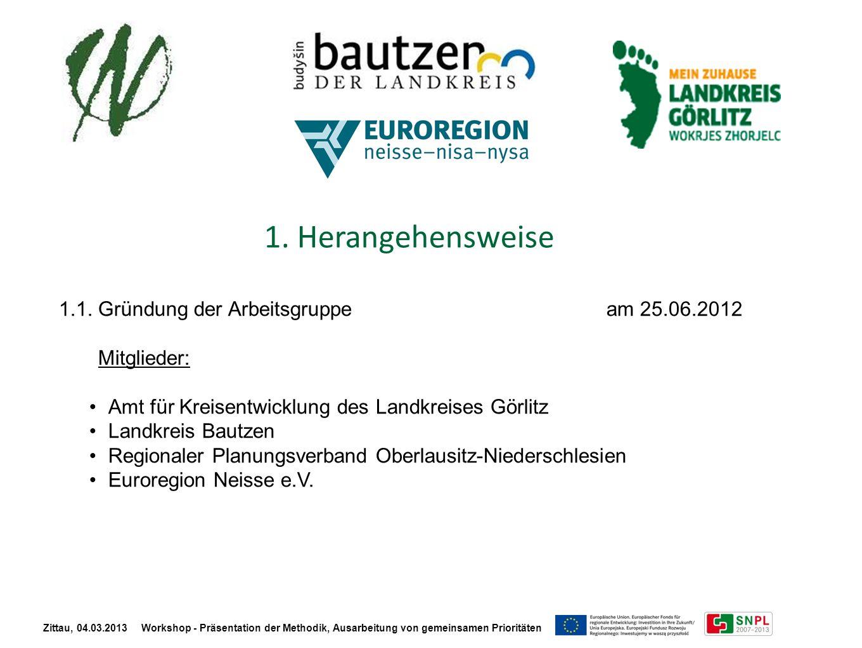 1. Herangehensweise 1.1. Gründung der Arbeitsgruppe am 25.06.2012 Mitglieder: Amt für Kreisentwicklung des Landkreises Görlitz Landkreis Bautzen Regio