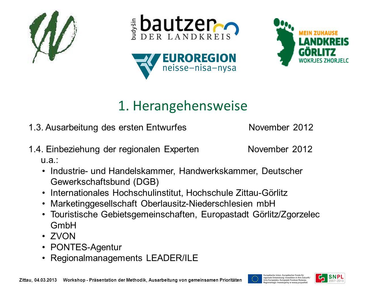 1. Herangehensweise 1.3. Ausarbeitung des ersten Entwurfes November 2012 1.4. Einbeziehung der regionalen Experten November 2012 u.a.: Industrie- und