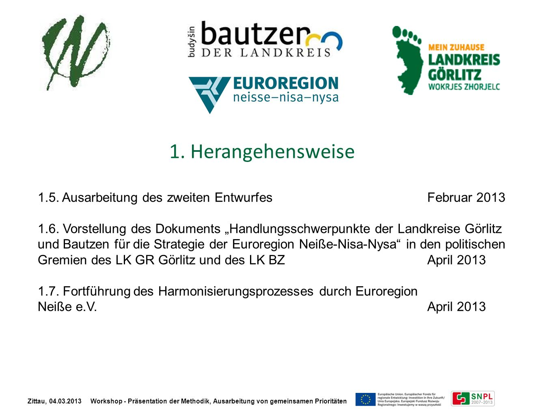 1. Herangehensweise 1.5. Ausarbeitung des zweiten EntwurfesFebruar 2013 1.6. Vorstellung des Dokuments Handlungsschwerpunkte der Landkreise Görlitz un