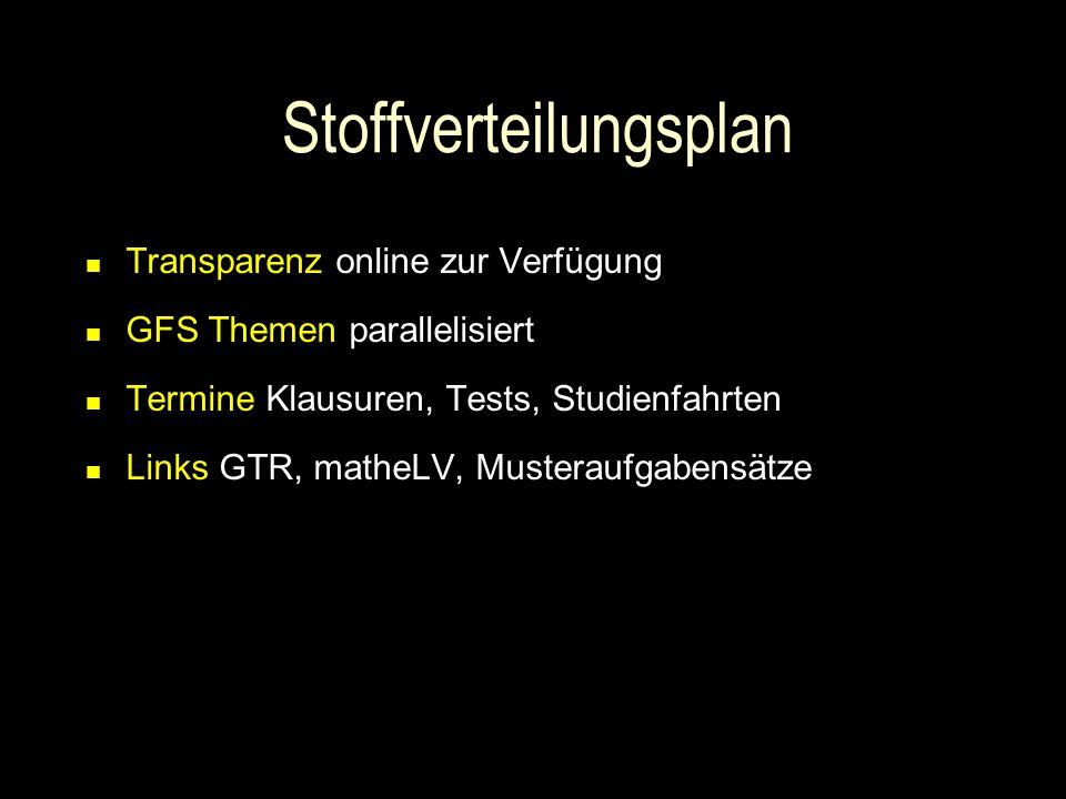 Stoffverteilungsplan Transparenz online zur Verfügung GFS Themen parallelisiert Termine Klausuren, Tests, Studienfahrten Links GTR, matheLV, Musterauf