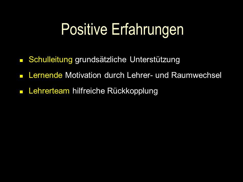 Positive Erfahrungen Schulleitung grundsätzliche Unterstützung Lernende Motivation durch Lehrer- und Raumwechsel Lehrerteam hilfreiche Rückkopplung