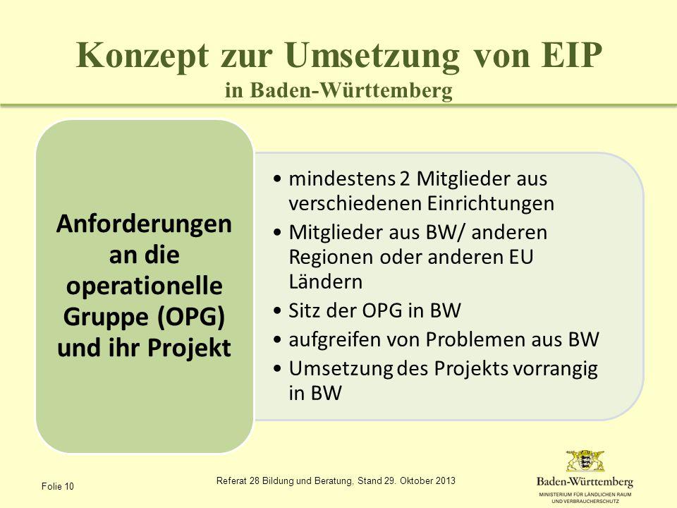 Konzept zur Umsetzung von EIP in Baden-Württemberg mindestens 2 Mitglieder aus verschiedenen Einrichtungen Mitglieder aus BW/ anderen Regionen oder an
