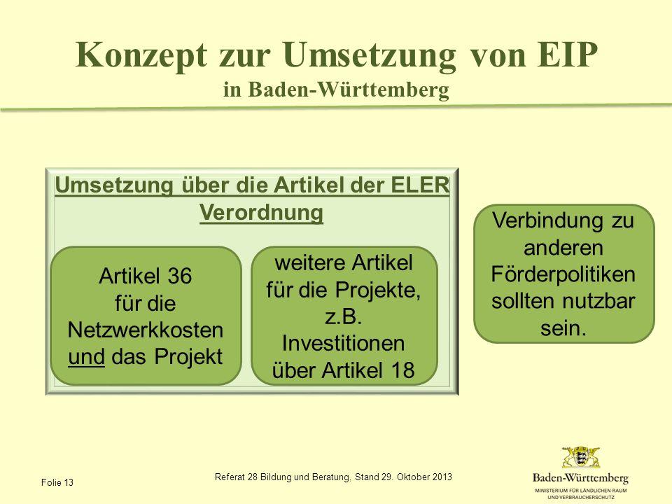 Konzept zur Umsetzung von EIP in Baden-Württemberg Umsetzung über die Artikel der ELER Verordnung Referat 28 Bildung und Beratung, Stand 29. Oktober 2