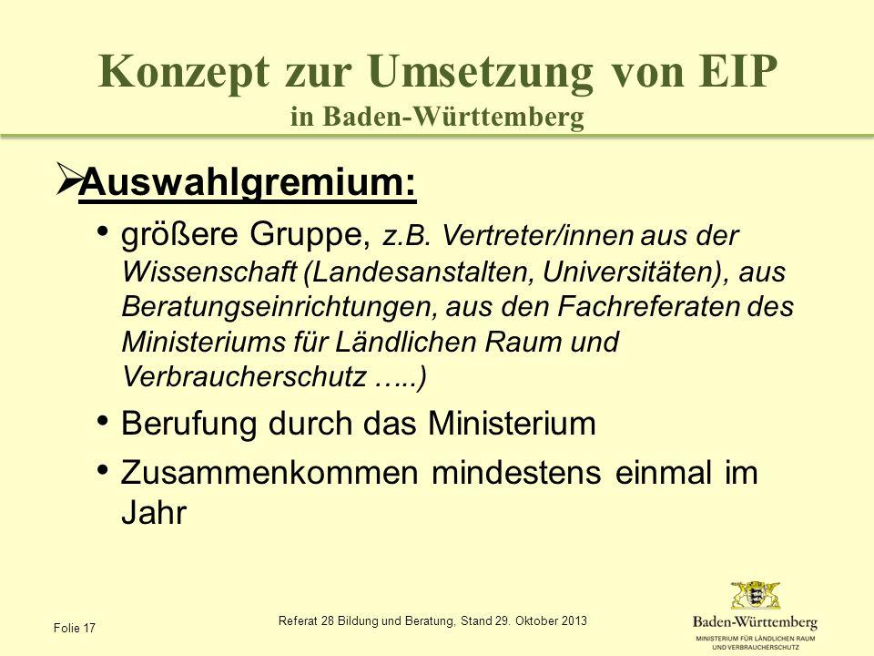 Konzept zur Umsetzung von EIP in Baden-Württemberg Auswahlgremium: größere Gruppe, z.B. Vertreter/innen aus der Wissenschaft (Landesanstalten, Univers