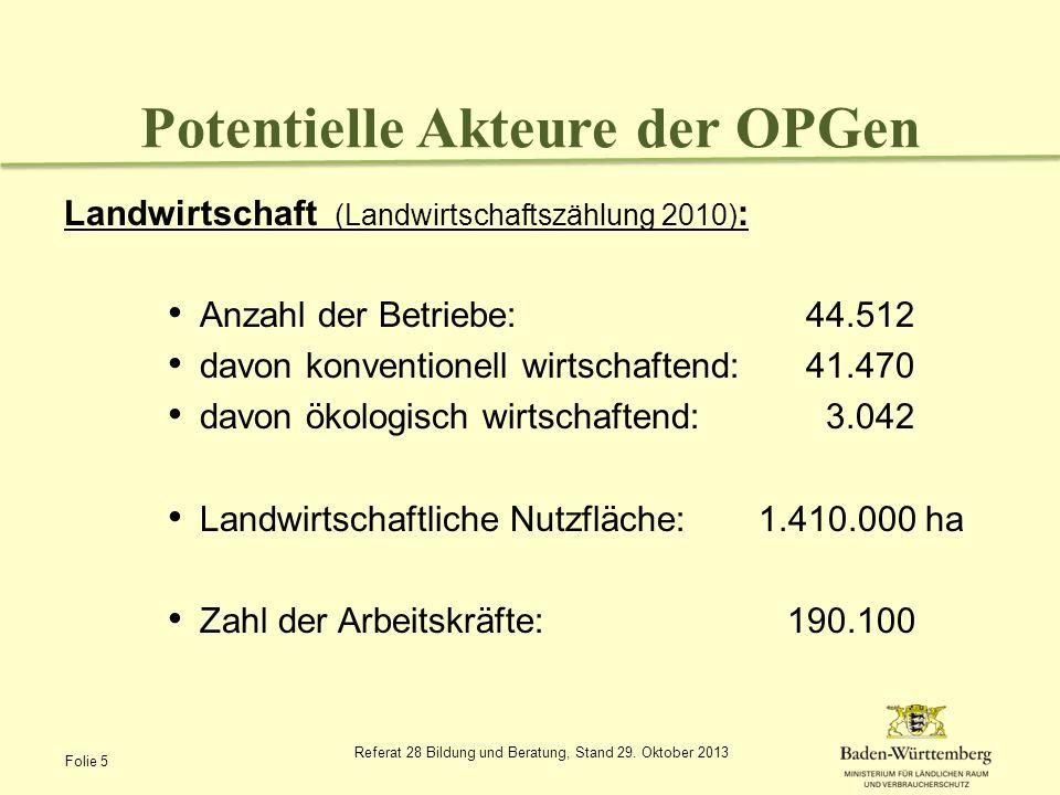 Potentielle Akteure der OPGen Landwirtschaft (Landwirtschaftszählung 2010) : Anzahl der Betriebe: 44.512 davon konventionell wirtschaftend:41.470 davo