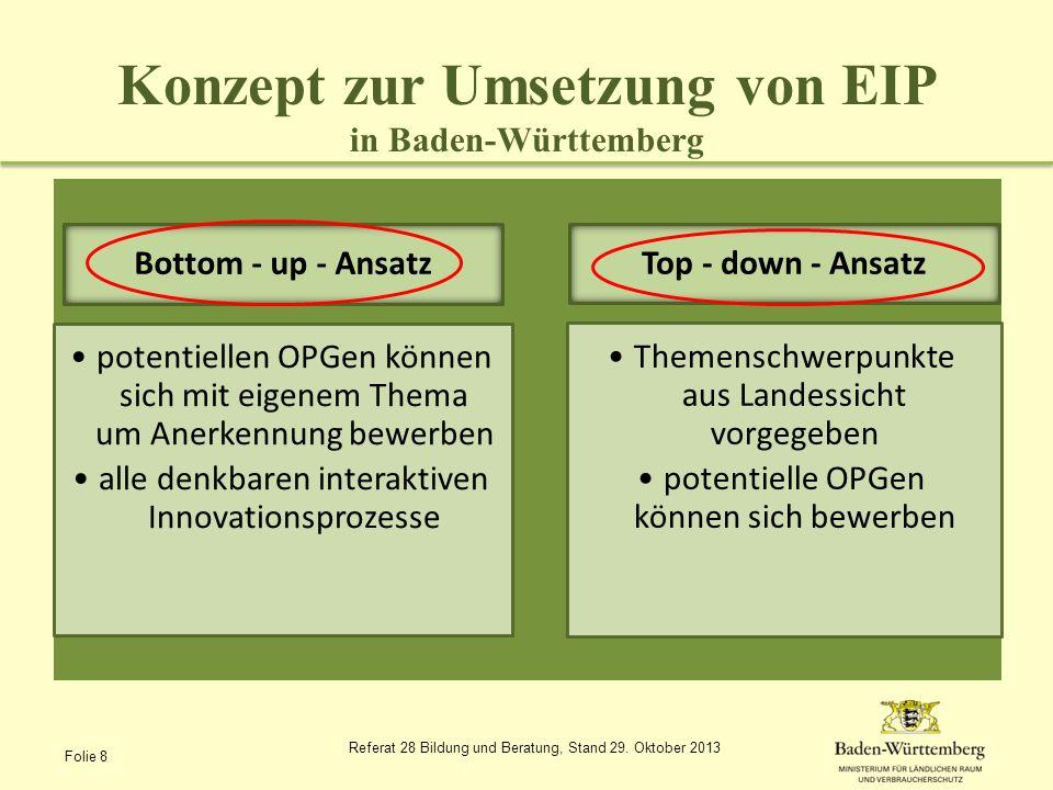 Konzept zur Umsetzung von EIP in Baden-Württemberg Offene Fragen: Innovationsbroker (Wer?, Wie?) Operationelle Gruppe als Förderempfänger – Rechtsform.