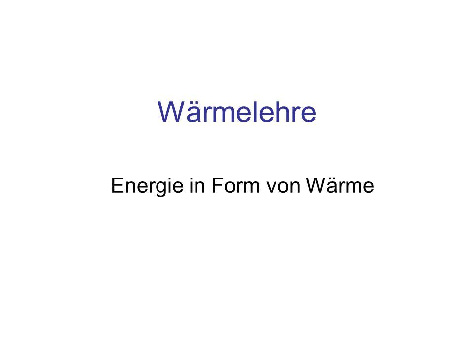 Wärmelehre Energie in Form von Wärme