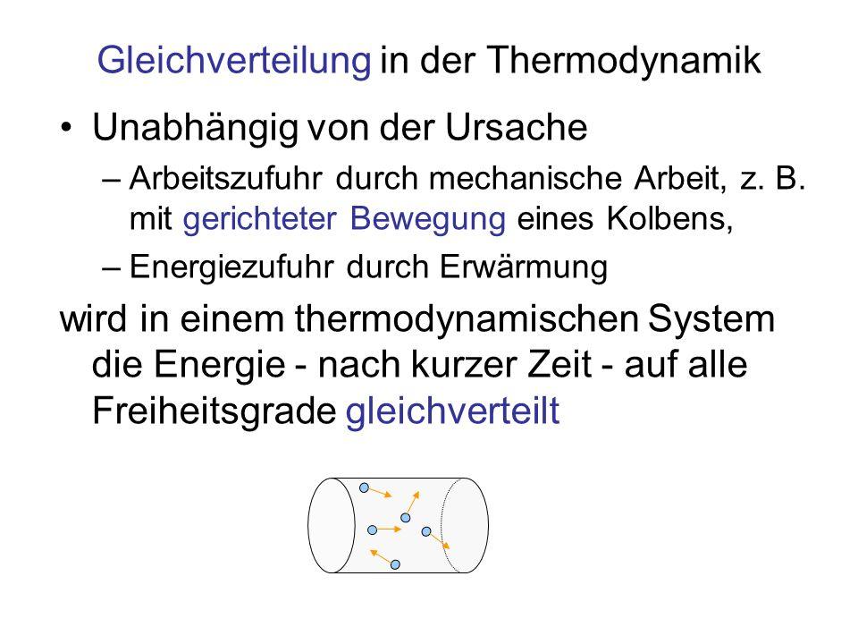Gleichverteilung in der Thermodynamik Unabhängig von der Ursache –Arbeitszufuhr durch mechanische Arbeit, z. B. mit gerichteter Bewegung eines Kolbens