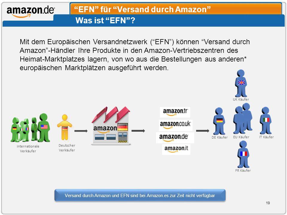 Was ist EFN? UK Käufer DE Käufer IT KäuferEU Käufer FR Käufer Deutscher Verkäufer Internationale Verkäufer EFN für Versand durch Amazon Mit dem Europä