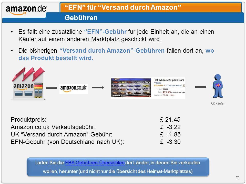 Gebühren EFN für Versand durch Amazon Es fällt eine zusätzliche EFN-Gebühr für jede Einheit an, die an einen Käufer auf einem anderen Marktplatz gesch