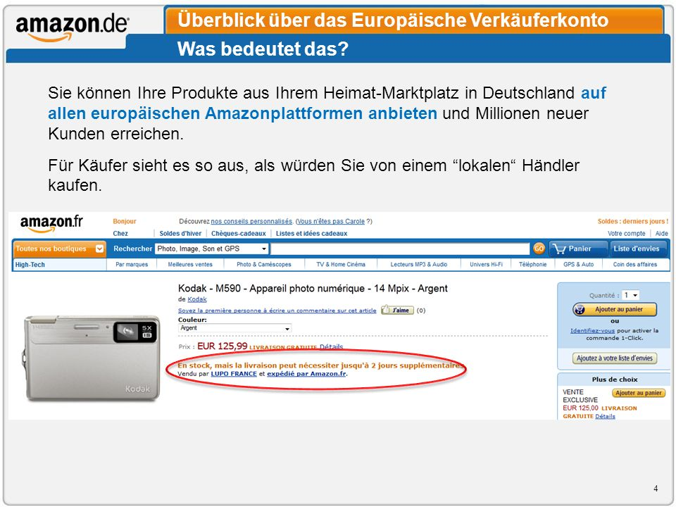 Was bedeutet das? Überblick über das Europäische Verkäuferkonto Sie können Ihre Produkte aus Ihrem Heimat-Marktplatz in Deutschland auf allen europäis
