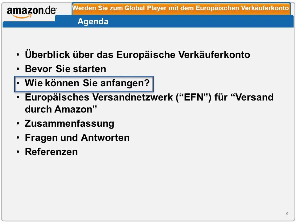 Überblick über das Europäische Verkäuferkonto Bevor Sie starten Wie können Sie anfangen? Europäisches Versandnetzwerk (EFN) für Versand durch Amazon Z