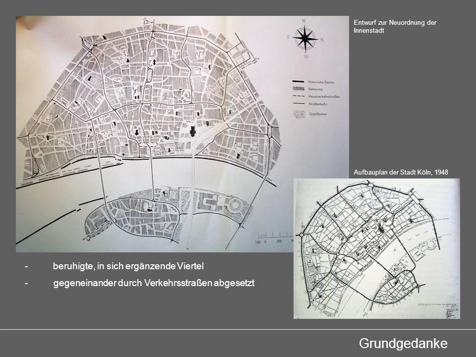 Verkehr -Ost-West-Achse -Süd-Nord-Fahrt (Gesundungsdrang) -diffuses Straßennetz entflechten -geschützte dargestellt Bereiche für Fußgänger von Verkehrsbändern umschlungen