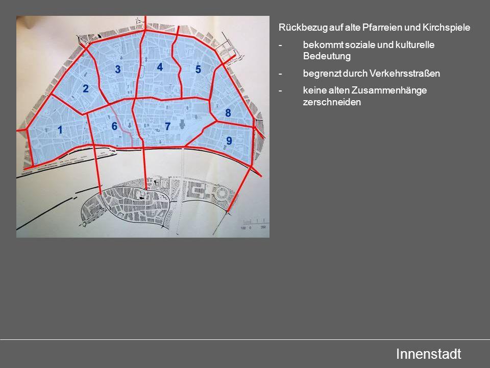Innenstadt Rückbezug auf alte Pfarreien und Kirchspiele -bekommt soziale und kulturelle Bedeutung -begrenzt durch Verkehrsstraßen -keine alten Zusamme