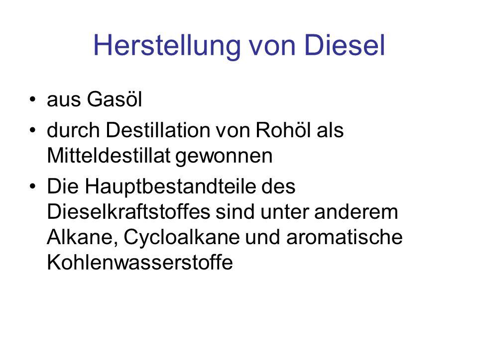 Herstellung von Diesel aus Gasöl durch Destillation von Rohöl als Mitteldestillat gewonnen Die Hauptbestandteile des Dieselkraftstoffes sind unter and